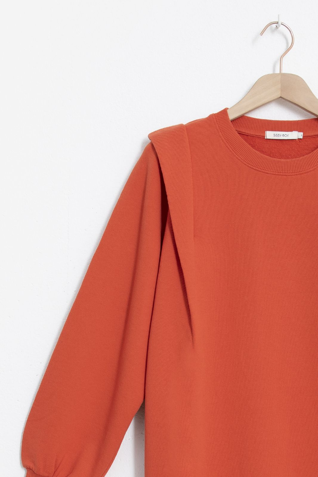 Rode sweat dress met schouderdetail - Dames | Sissy-Boy