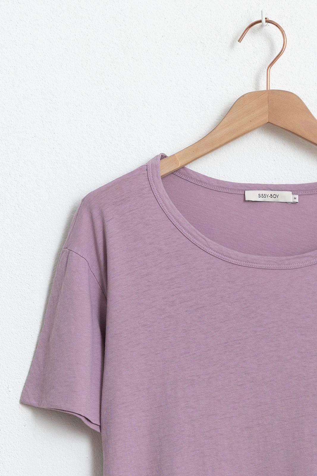 Roze basic T-shirt met ronde hals - Dames | Sissy-Boy