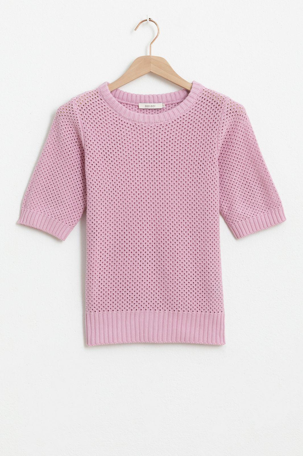 Roze opengewerkte trui met korte mouwen - Dames | Sissy-Boy