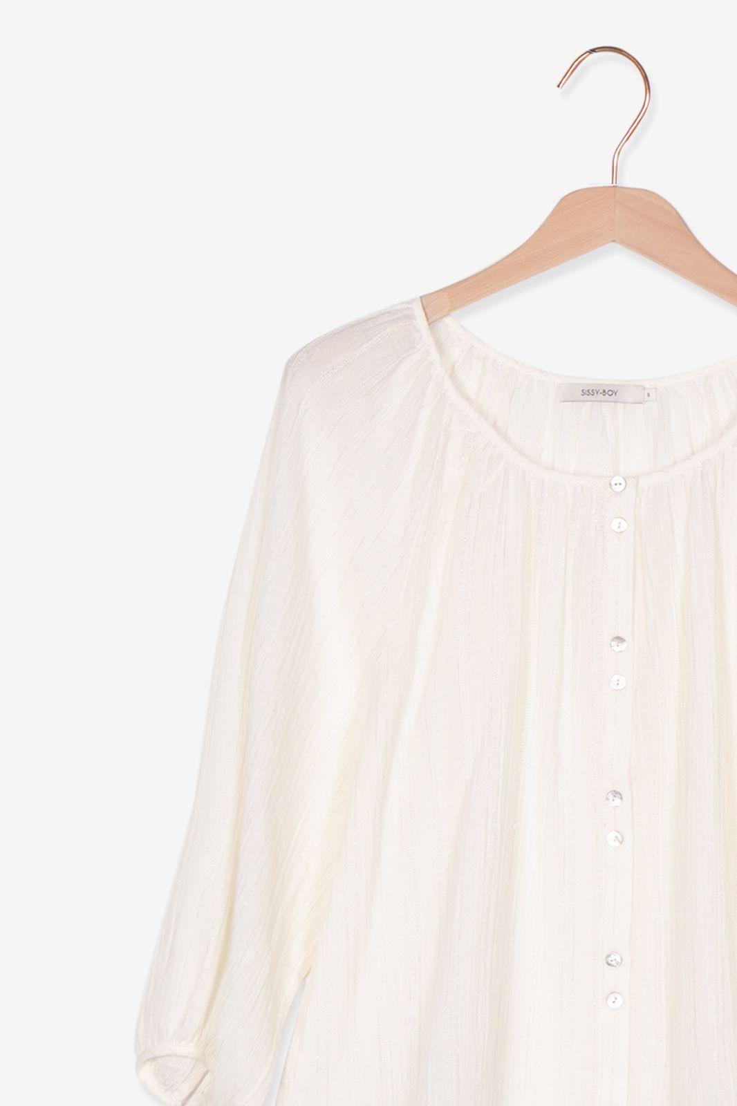 Witte blouse met lurex detail - Dames | Sissy-Boy
