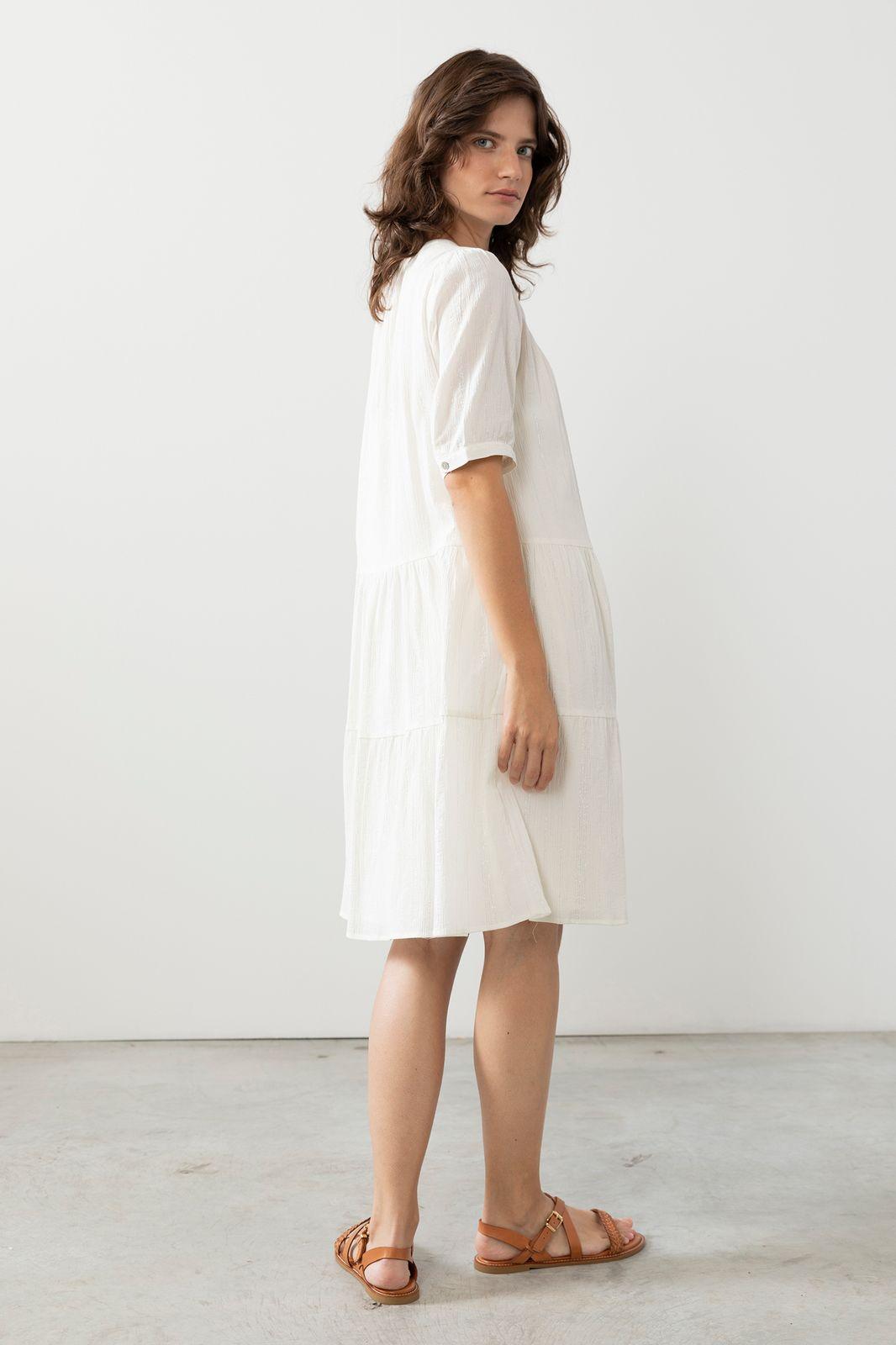 Witte jurk met zilveren stiksels - Dames | Sissy-Boy