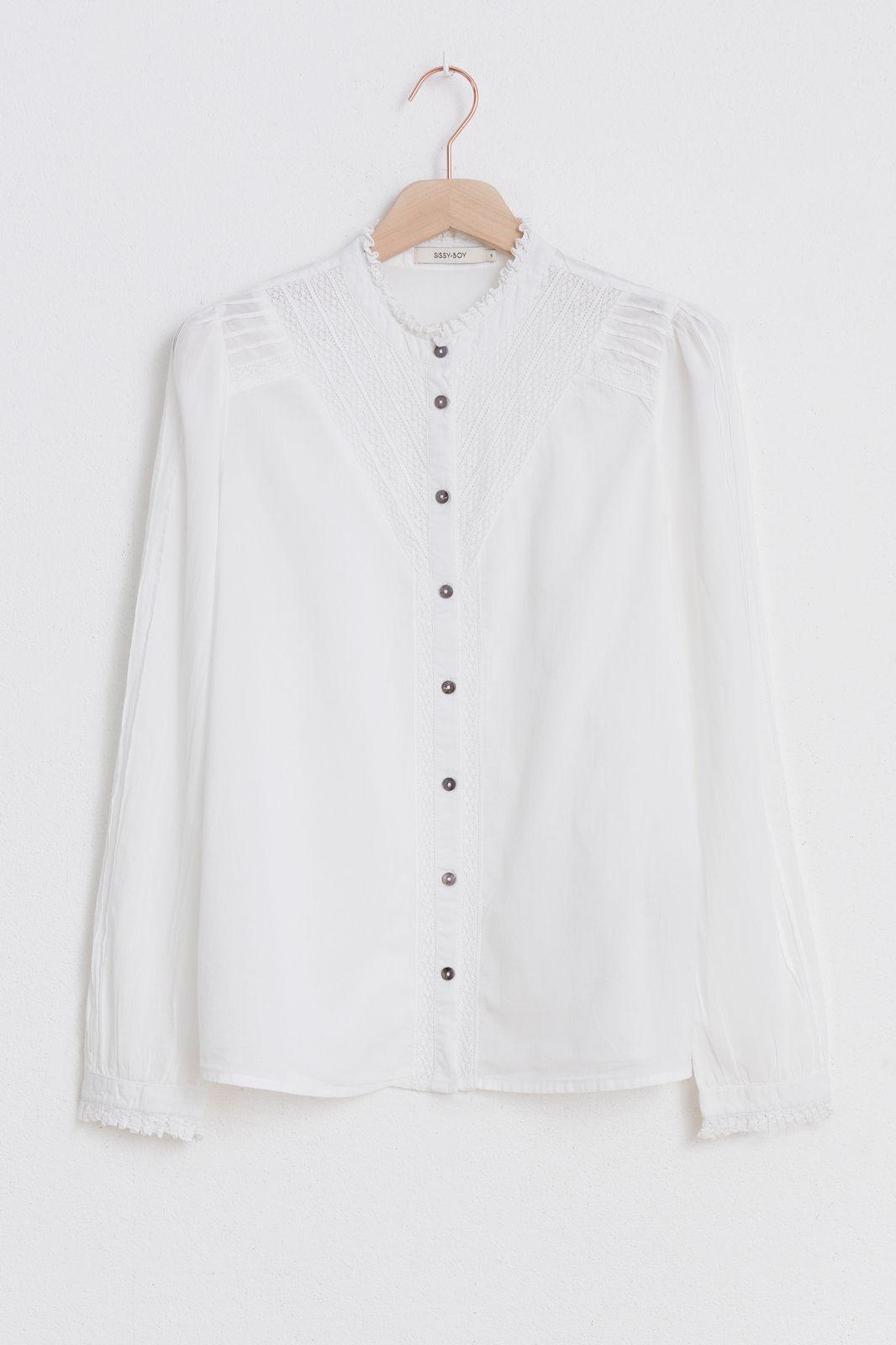 Witte blouse met ruffle kraag - Dames | Sissy-Boy