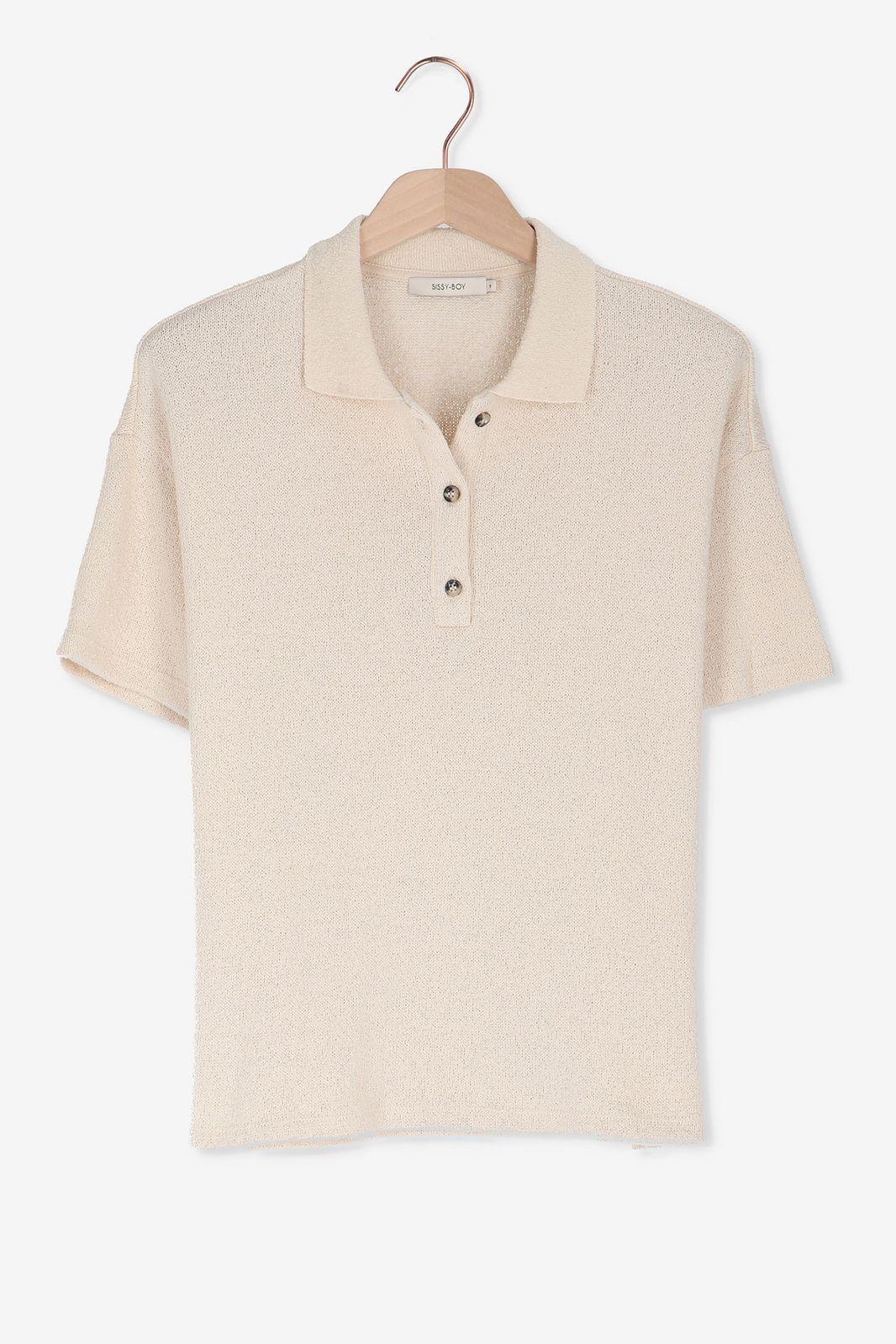 Beige t-shirt met knoopjes