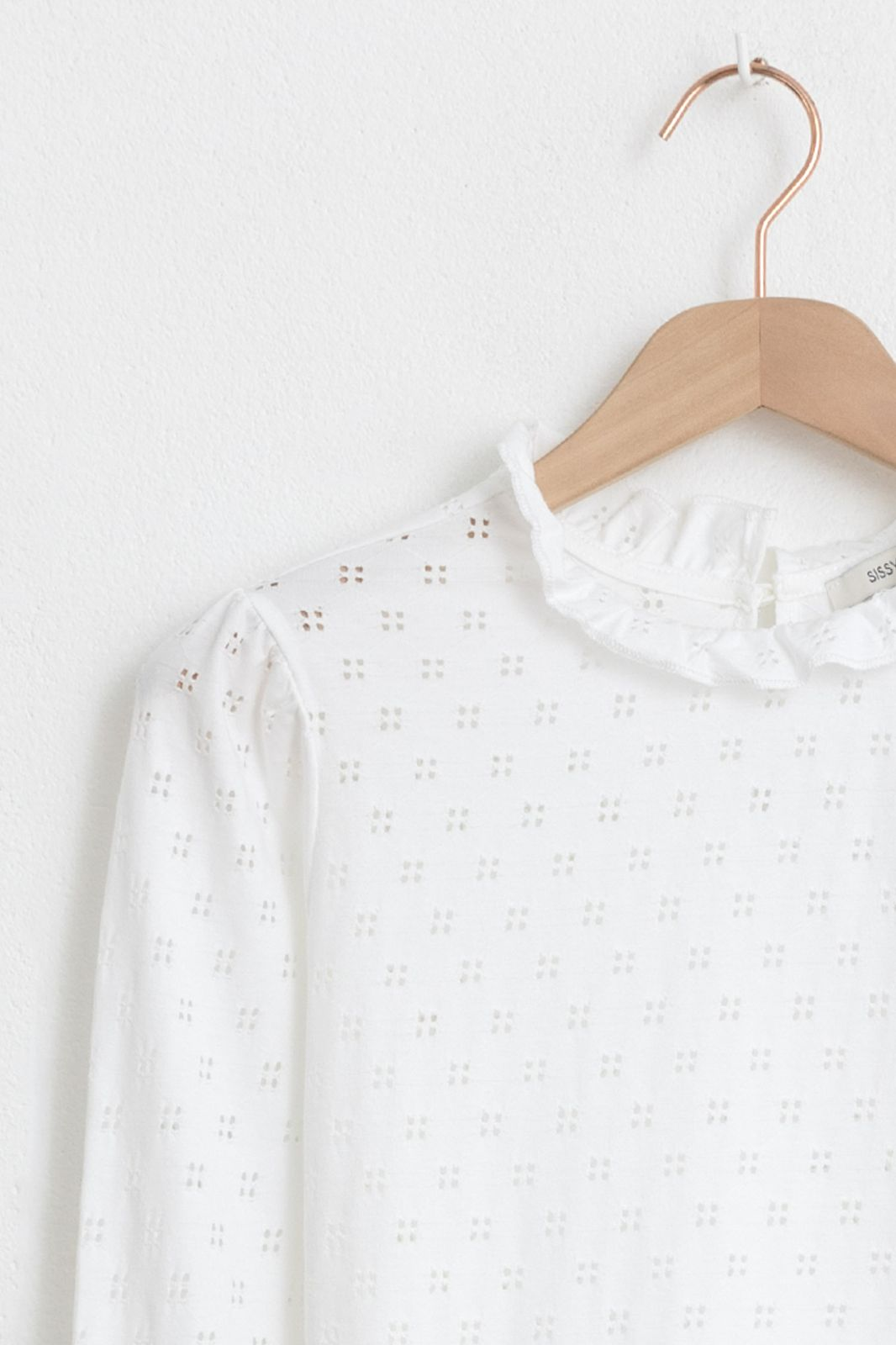 Wit ajour longsleeve T-shirt - Dames | Sissy-Boy