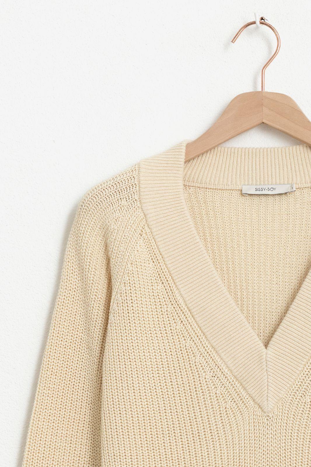 Witte trui met v-neck - Dames | Sissy-Boy