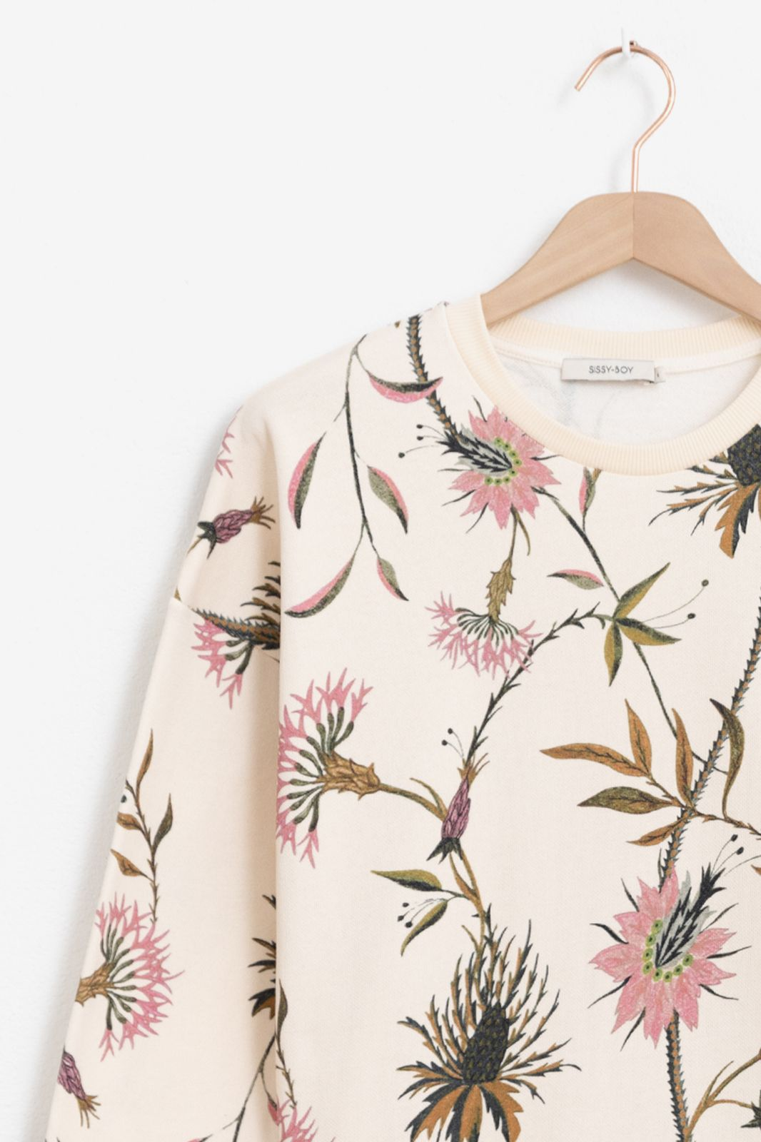 Ecru sweater met all over bloemen print - Dames | Sissy-Boy