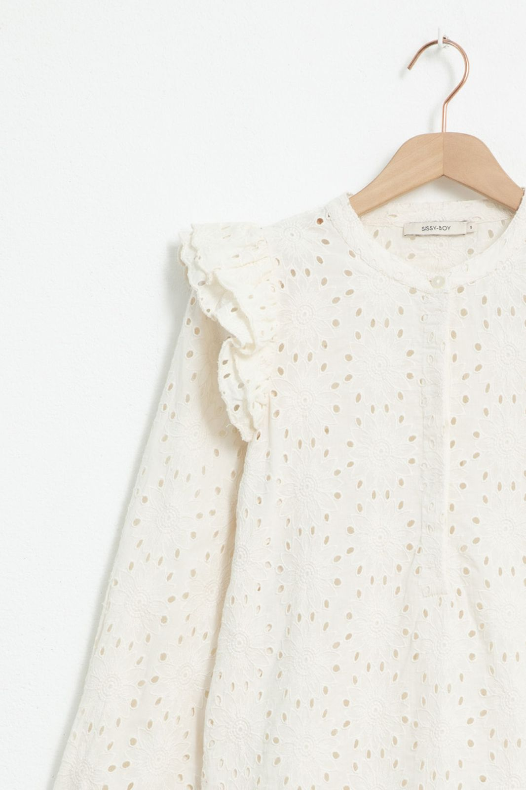 Ecru broderie anglaise blouse met ruffle details - Dames | Sissy-Boy