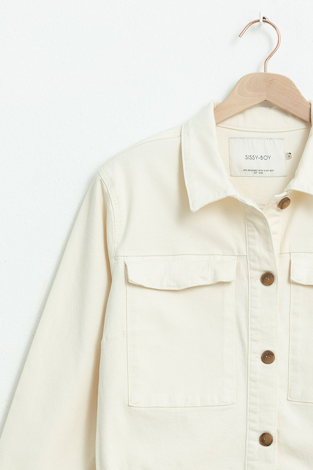 Ecru cropped denim jacket