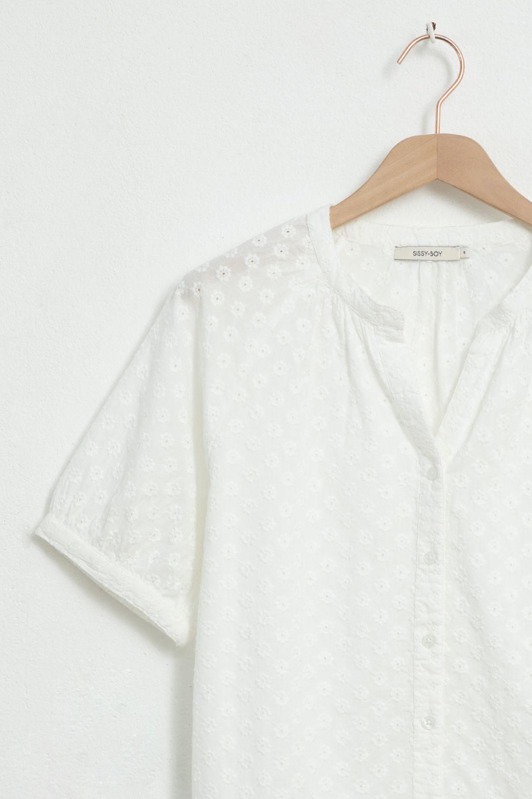 Ecru broderie anglaise blouse met ballon mouwen - Dames | Sissy-Boy