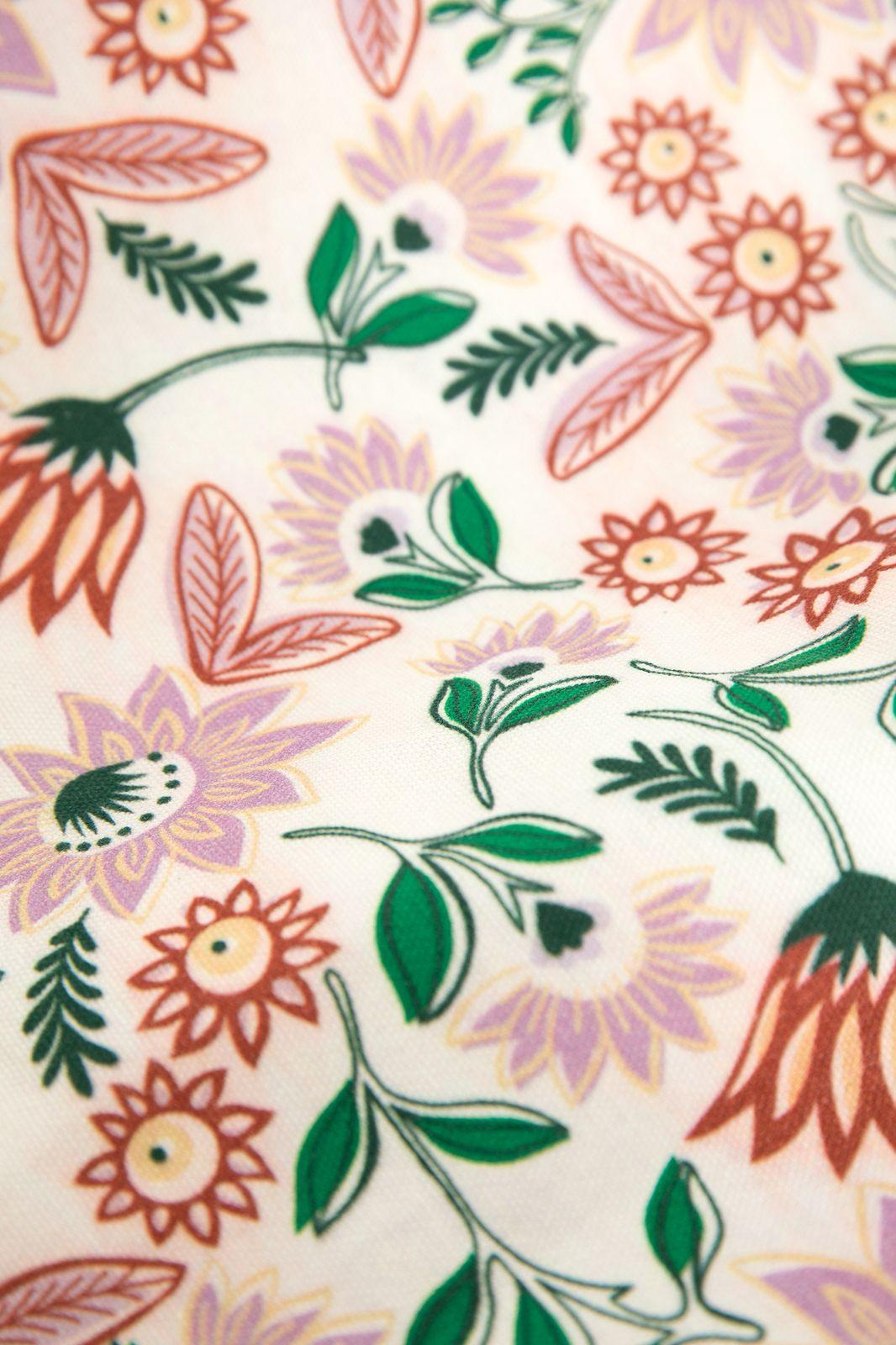 Ecru shopper met all over bloemenprint