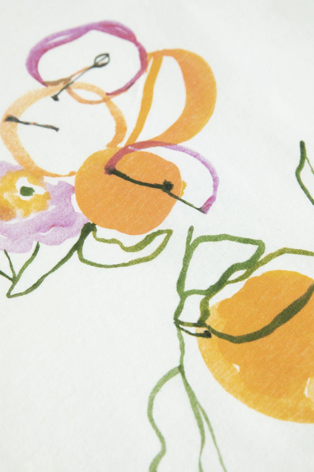 Ecru T-shirt met sinaasappel artwork - Dames   Sissy-Boy
