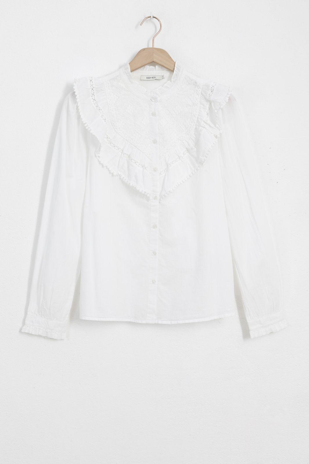 Witte blouse met kanten details en ruffles - Dames   Sissy-Boy