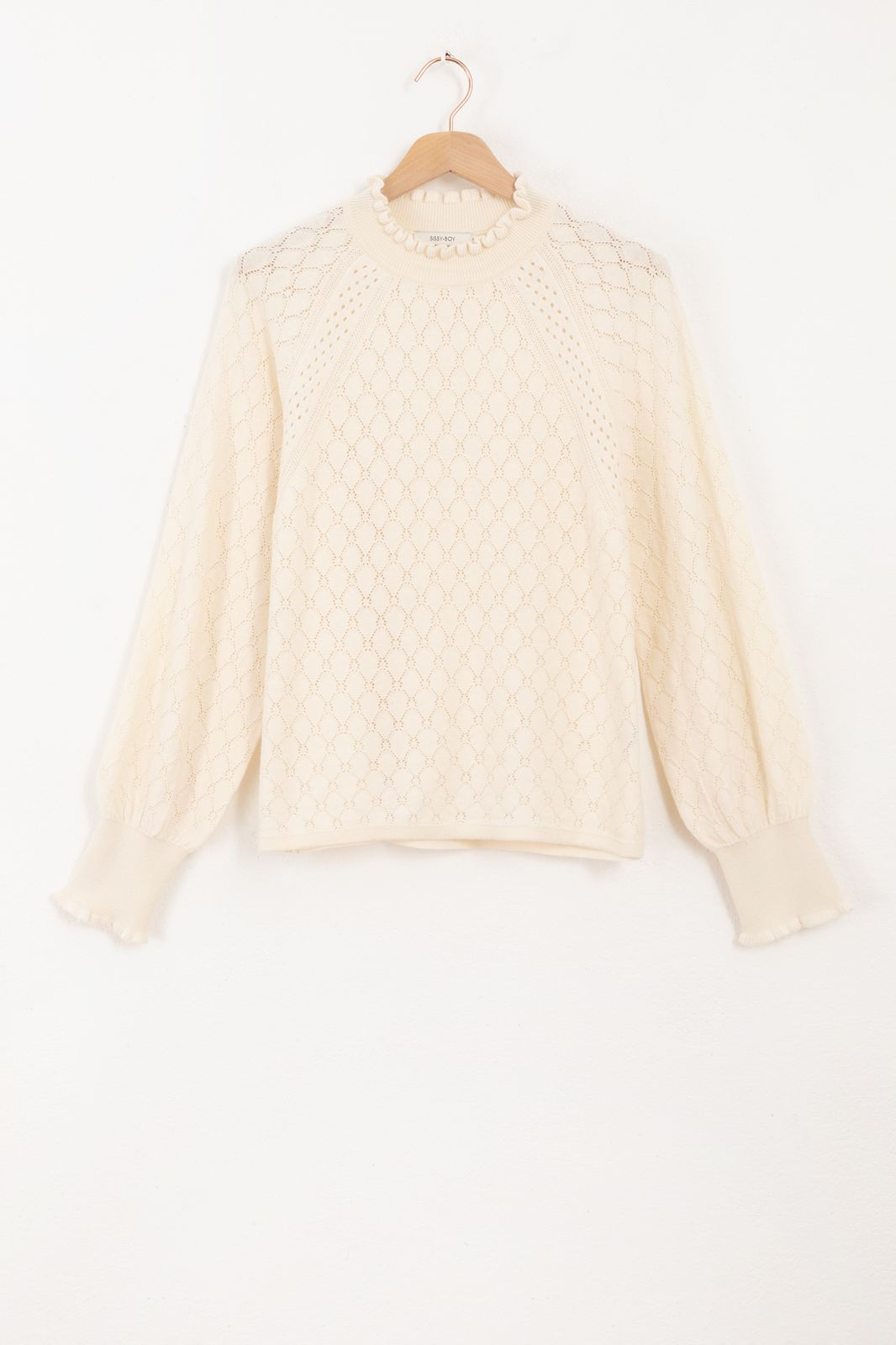Witte ajour knit pullover - Dames | Sissy-Boy