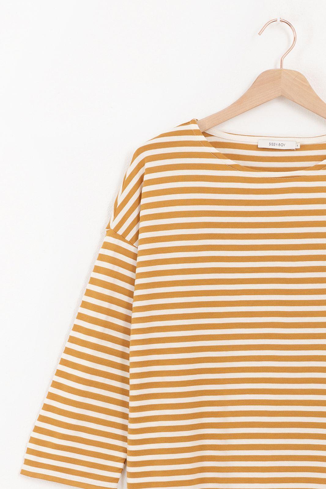 Gestreept t-shirt met driekwart mouwen - Dames | Sissy-Boy