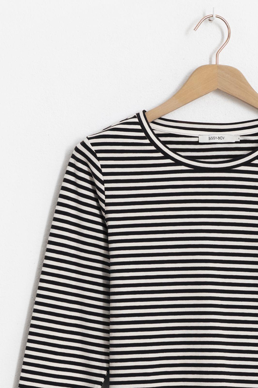 Zwart gestreept t-shirt met lange mouwen - Dames | Sissy-Boy