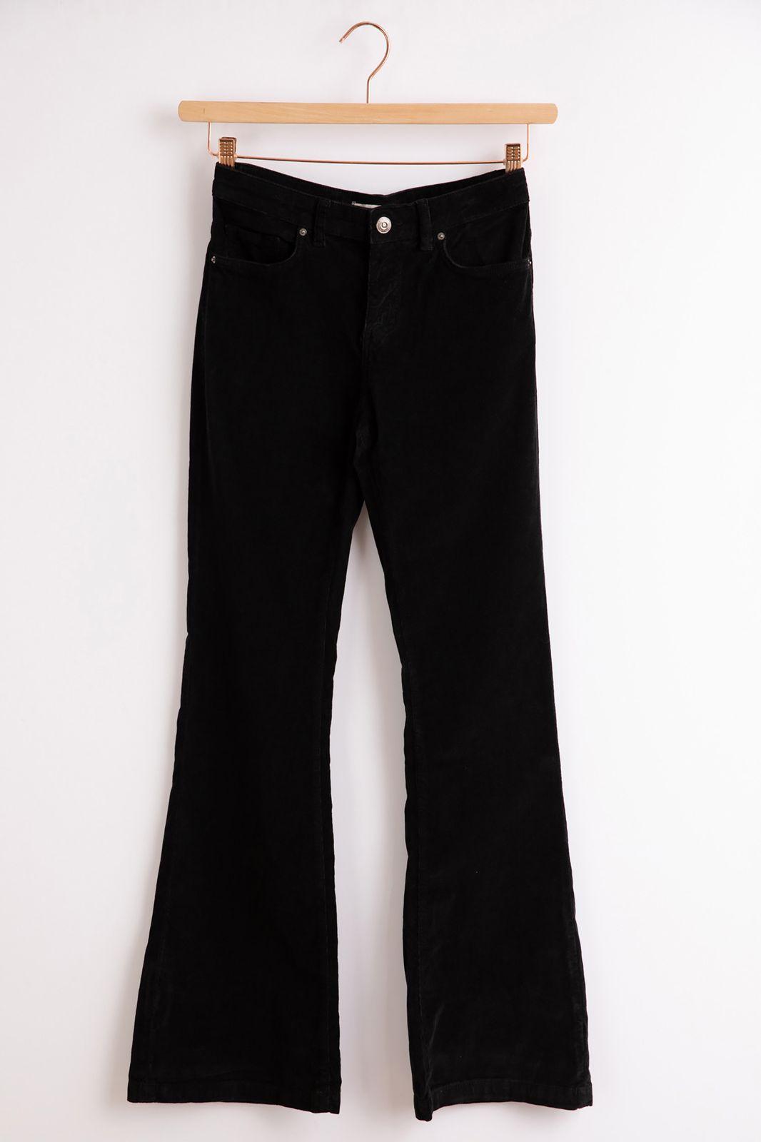 Zwarte flared broek rib