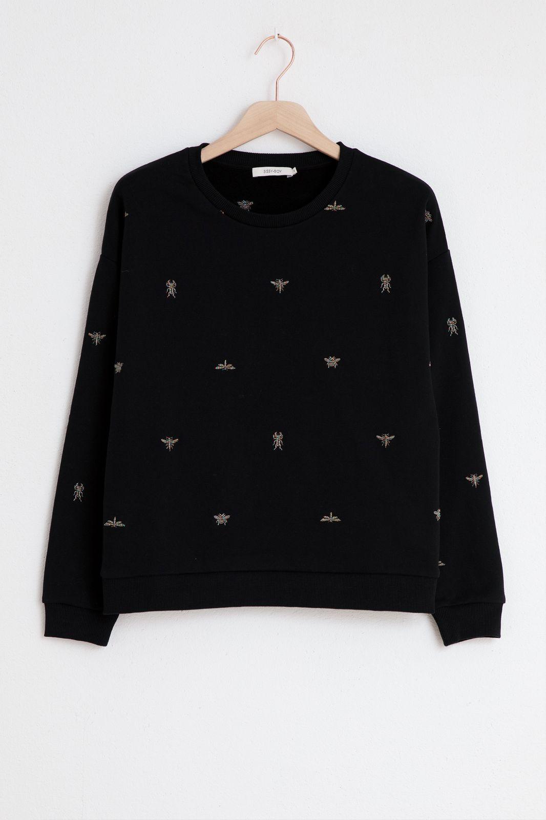 Zwarte sweater met borduursels - Dames   Sissy-Boy