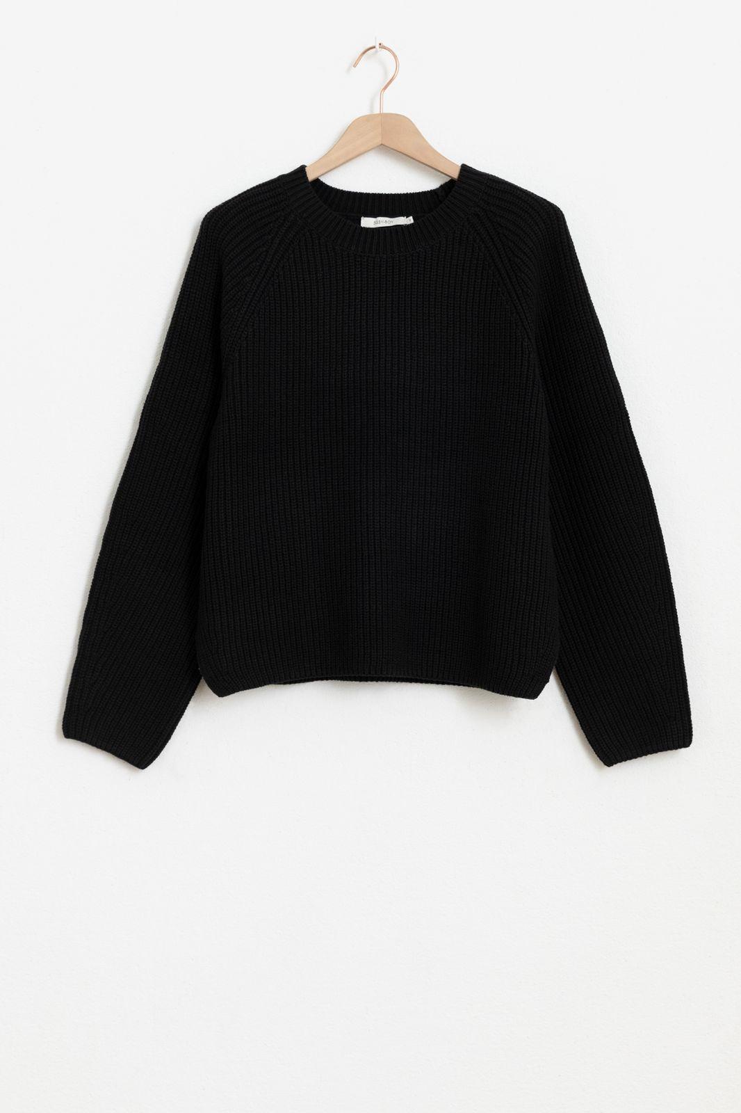 Zwarte rib trui met ronde hals