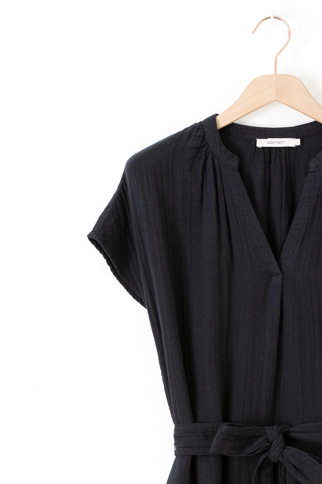 Zwart katoenen midi dress met strikceintuur - Dames | Sissy-Boy