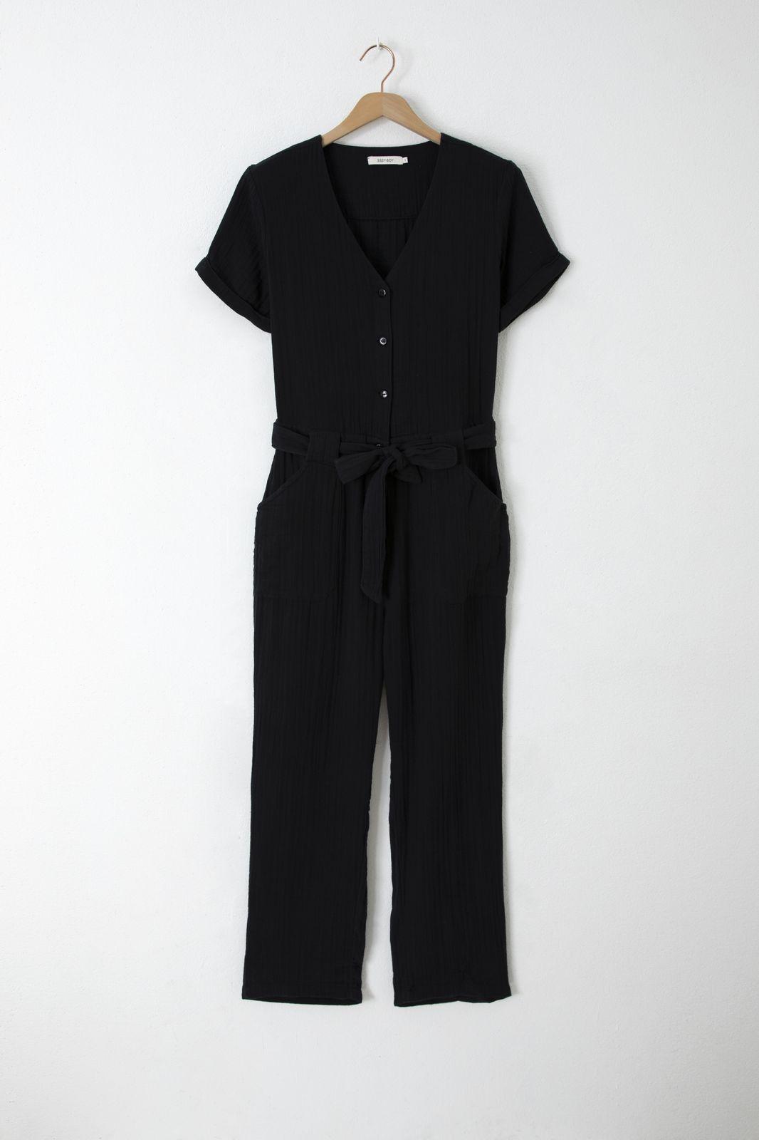 Zwarte mousseline jumpsuit - Dames | Sissy-Boy