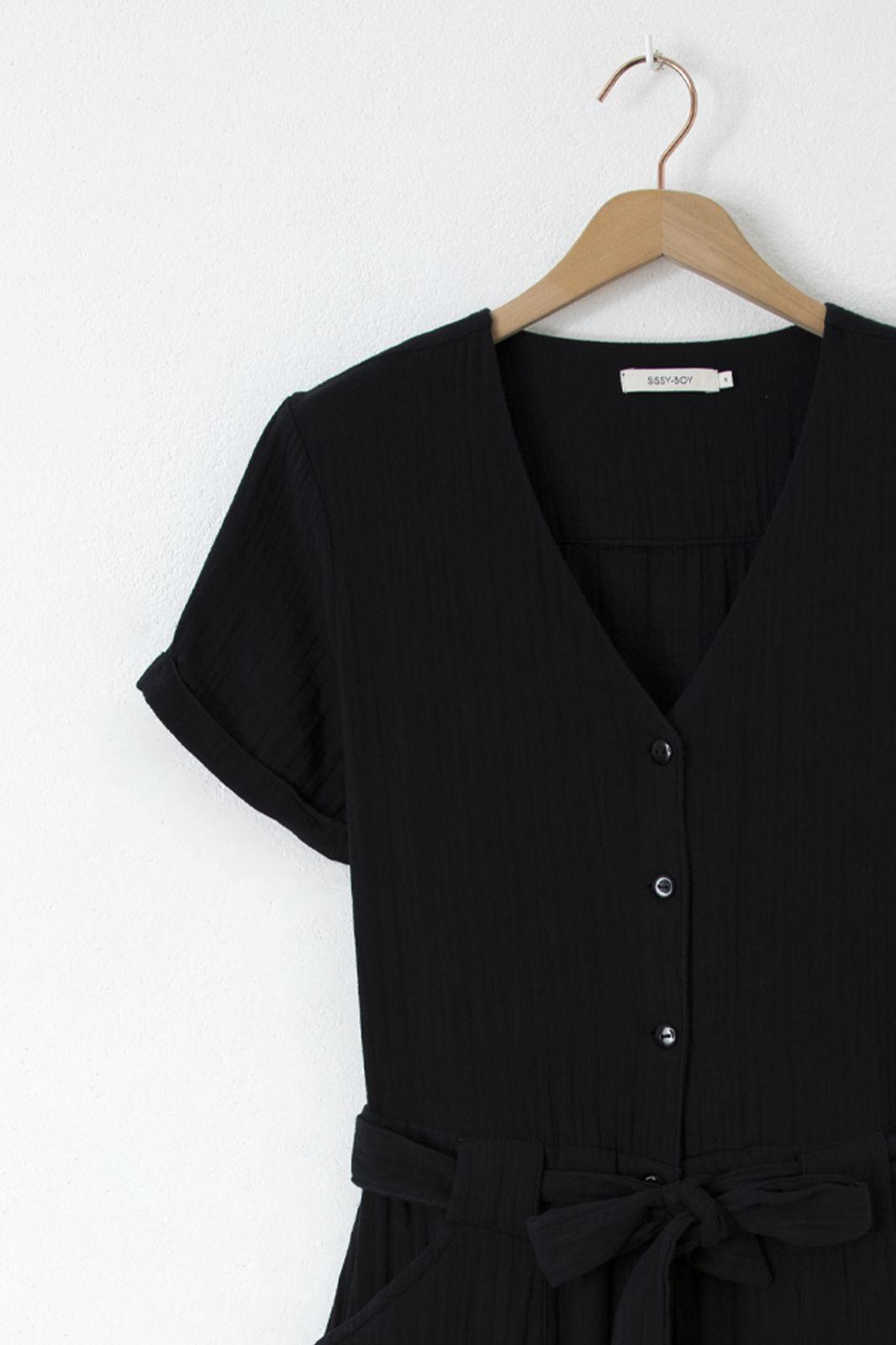 Zwarte mousseline jumpsuit - Dames   Sissy-Boy
