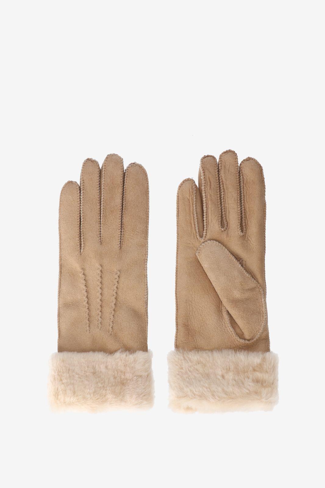 Lammy beige leren handschoenen