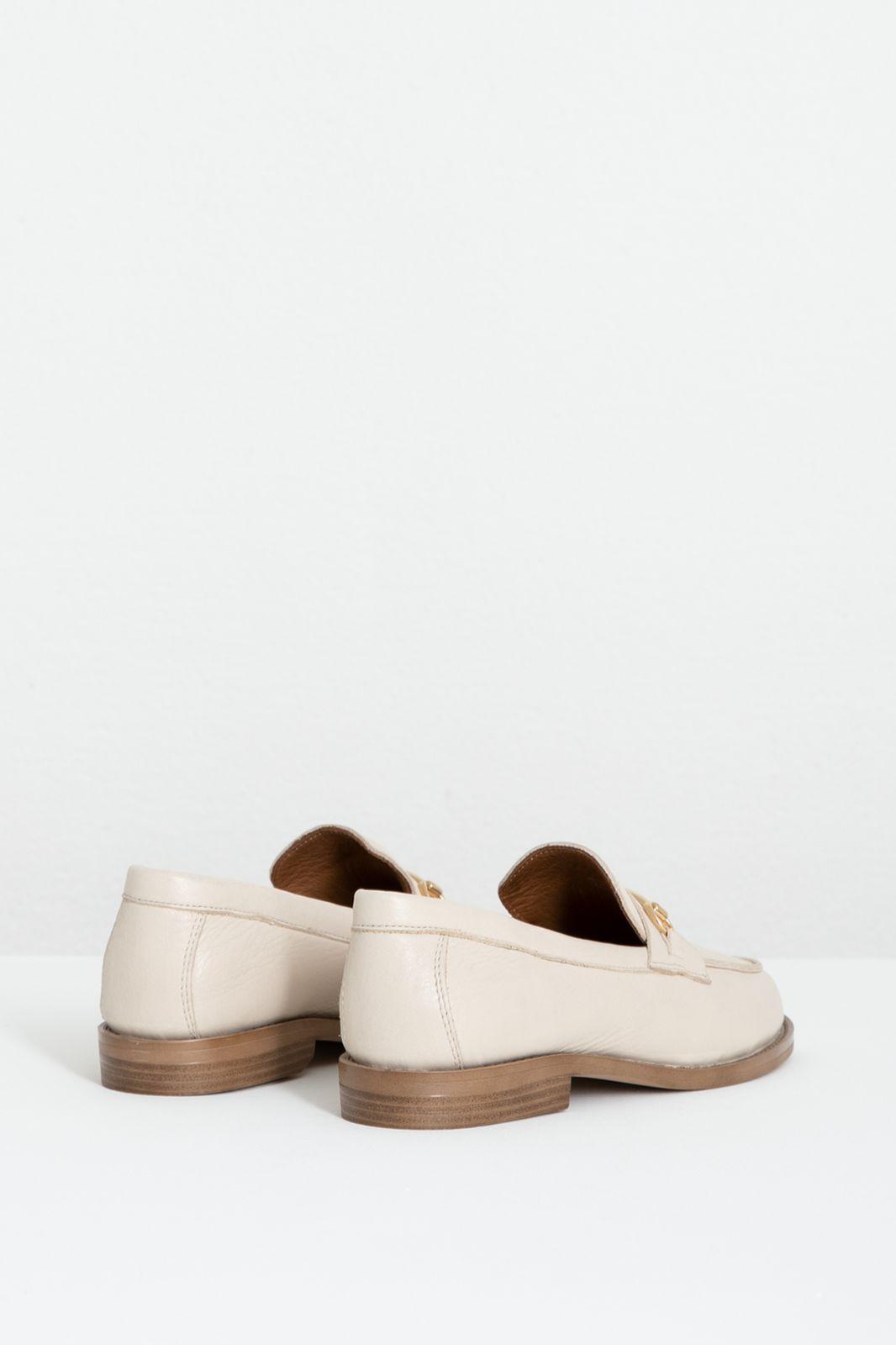 Beige leren loafers met goudkleurige gesp - Dames   Sissy-Boy