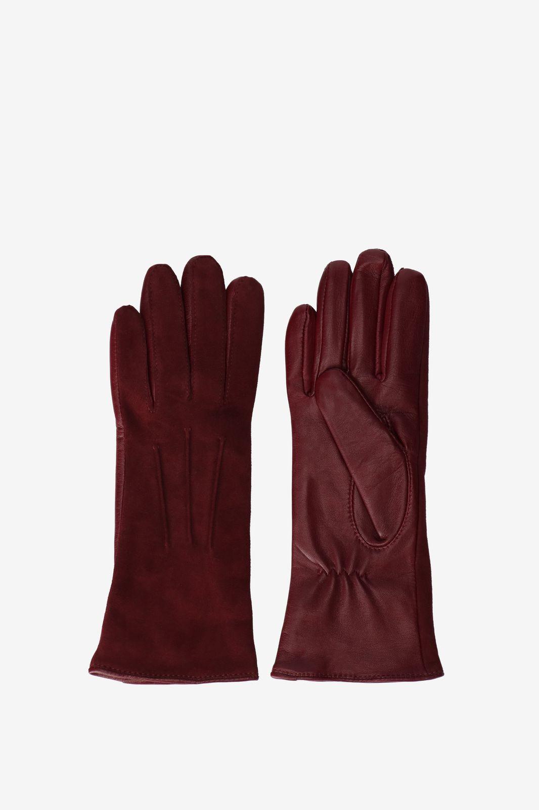 Donkerrode handschoenen leer/suède - Dames | Sissy-Boy
