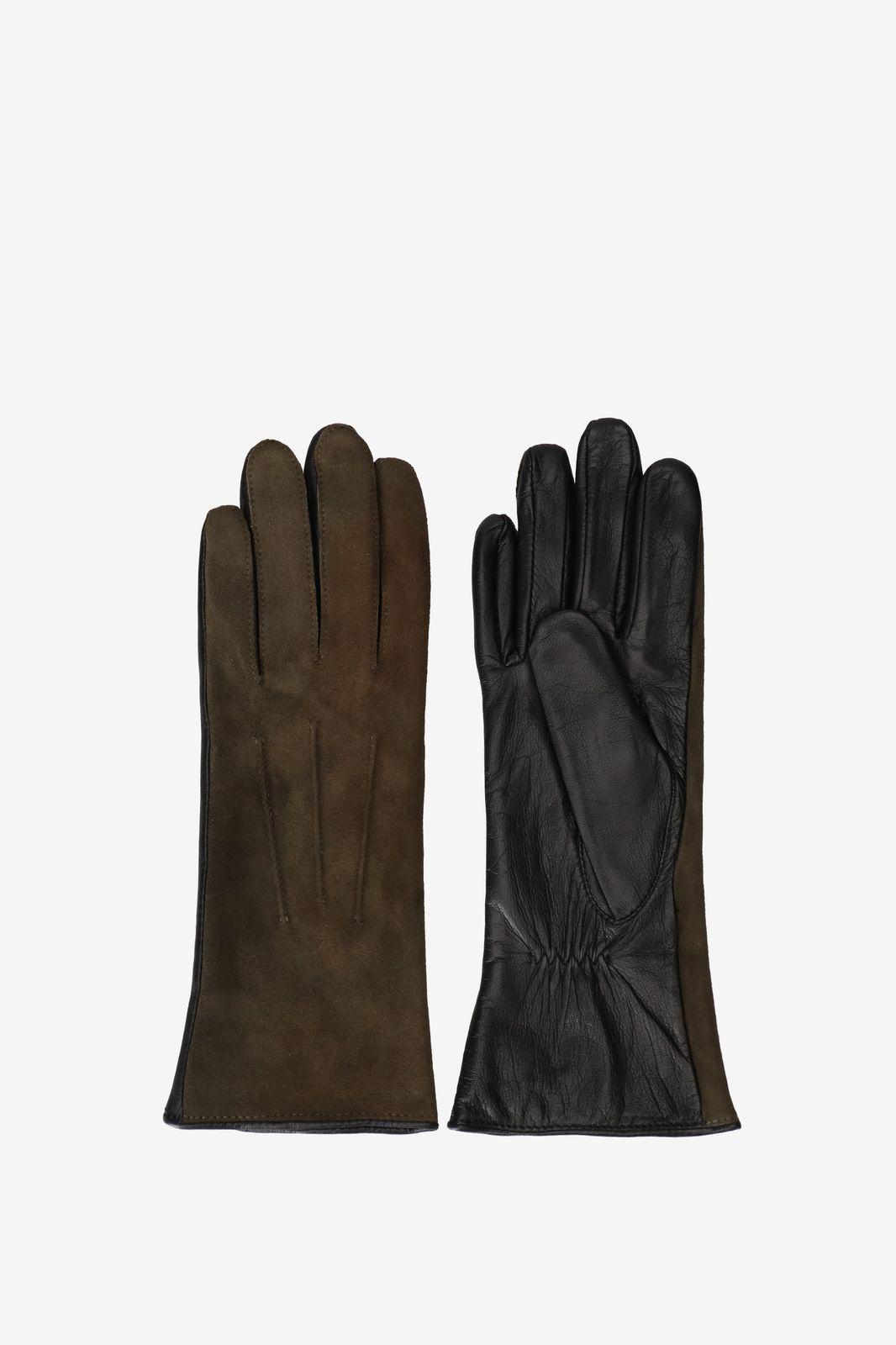 Donkergroene handschoenen leer/suede