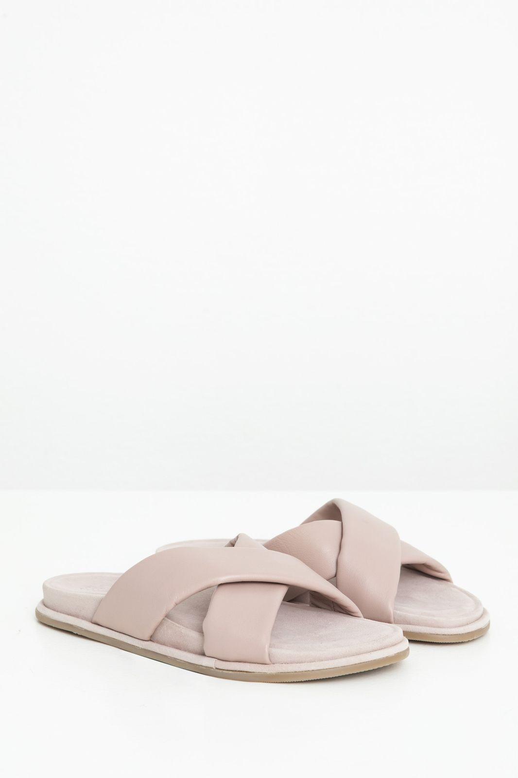 Lichtpaarse leren sandalen met kruisbanden - Dames | Sissy-Boy