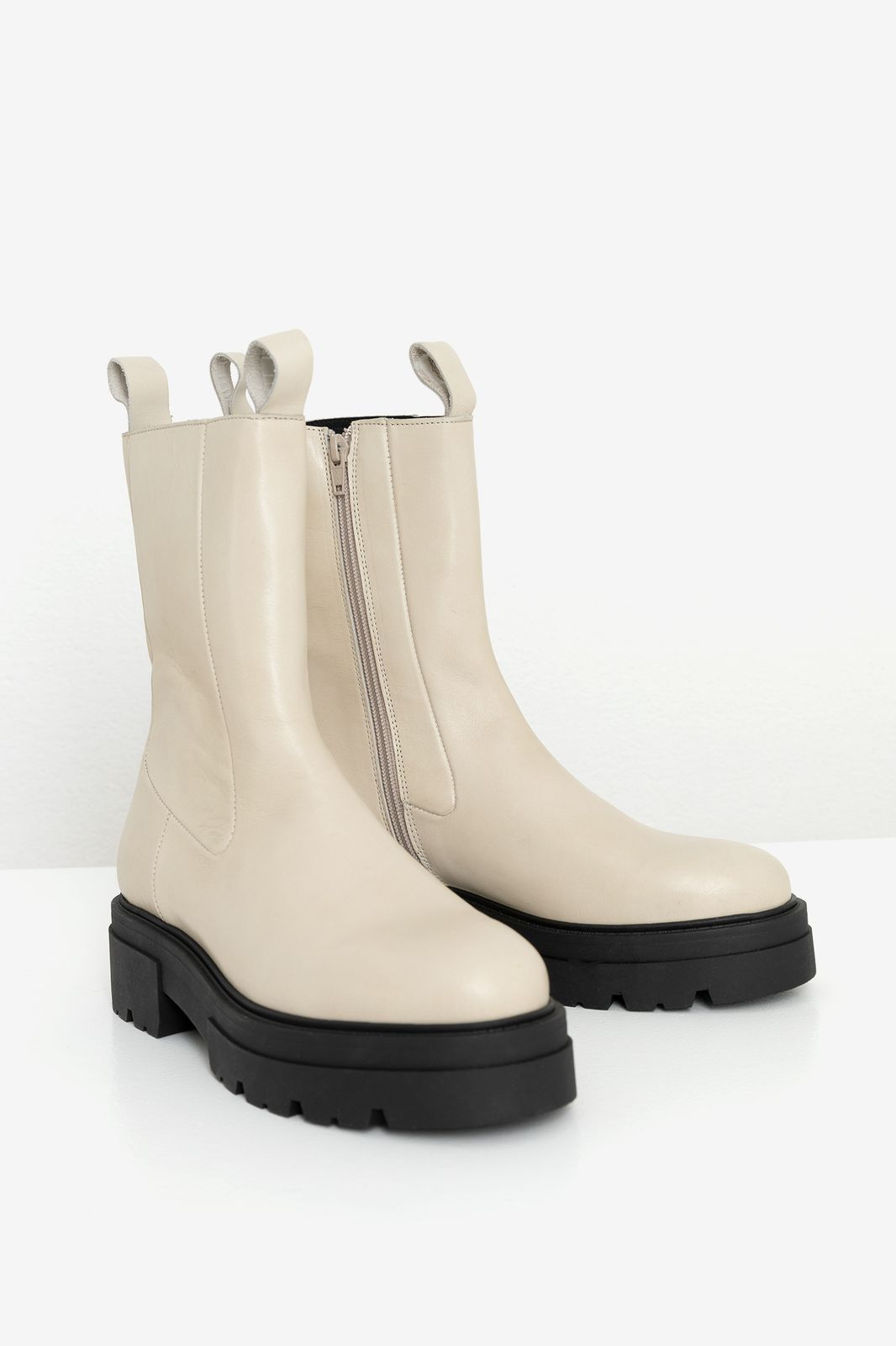 Witte chunky biker boots