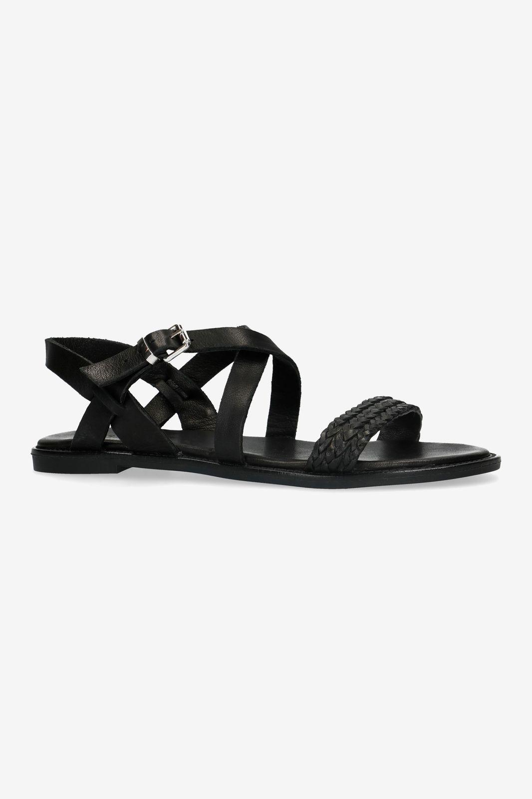 Zwarte sandaal met gevlochten bandje