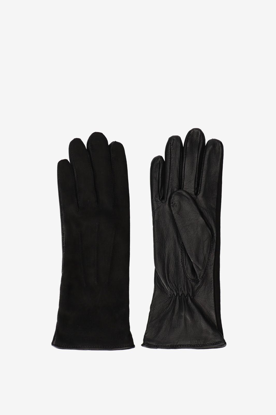 Zwarte handschoenen leer/suède - Dames | Sissy-Boy
