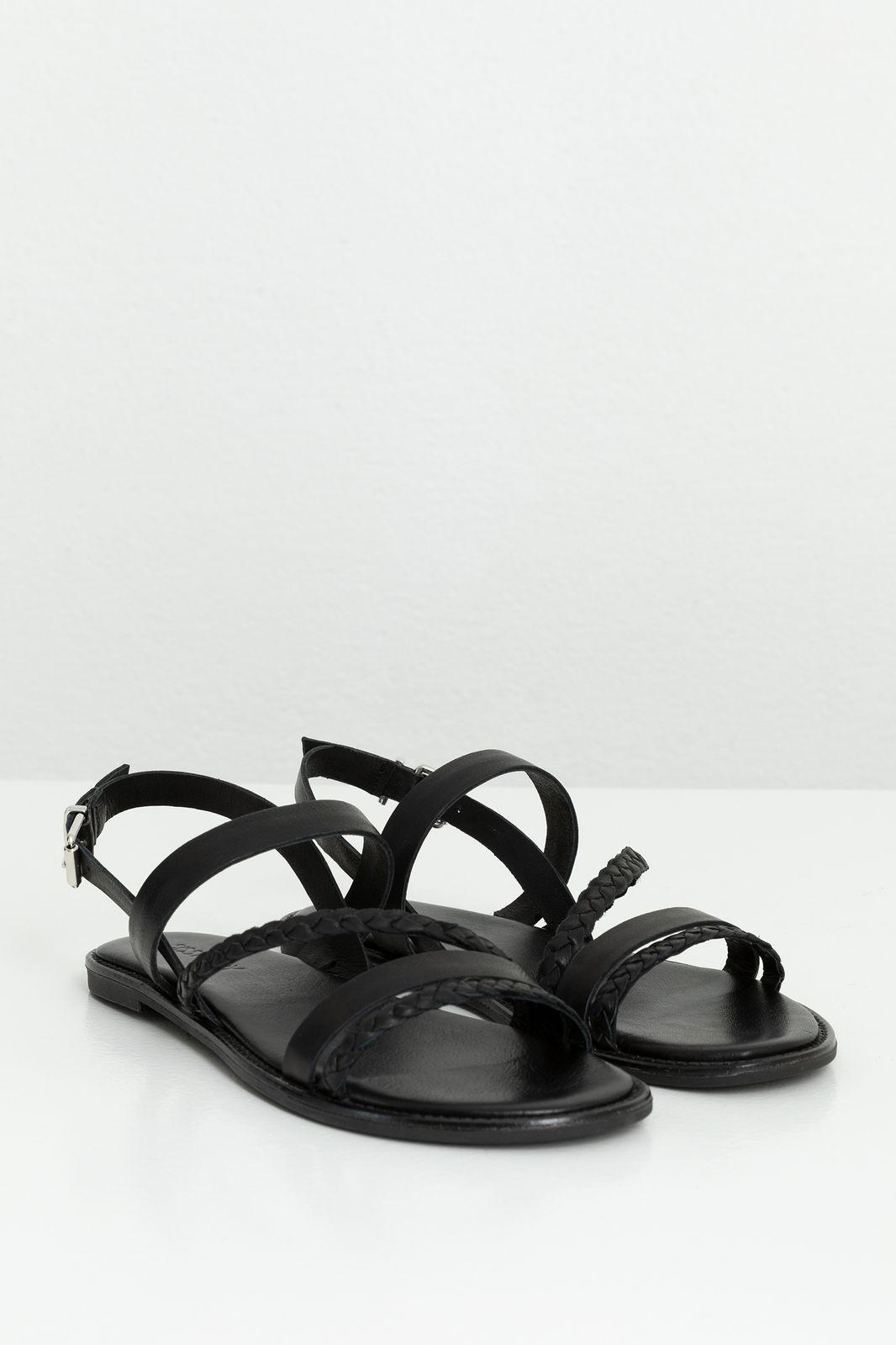 Zwarte leren sandaal gevlochten - Dames | Sissy-Boy