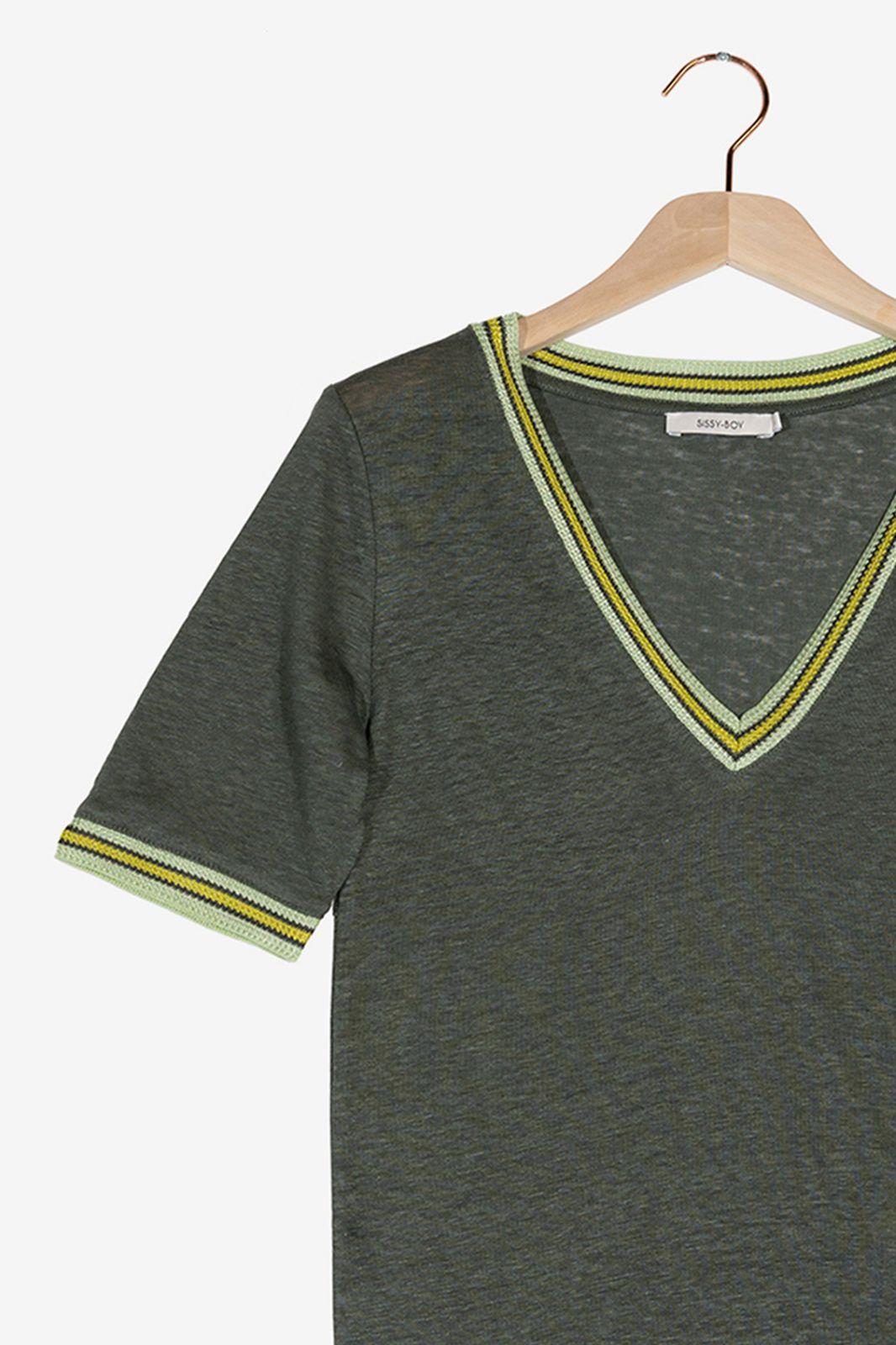 Donkergroen linnen t-shirt - Dames | Sissy-Boy