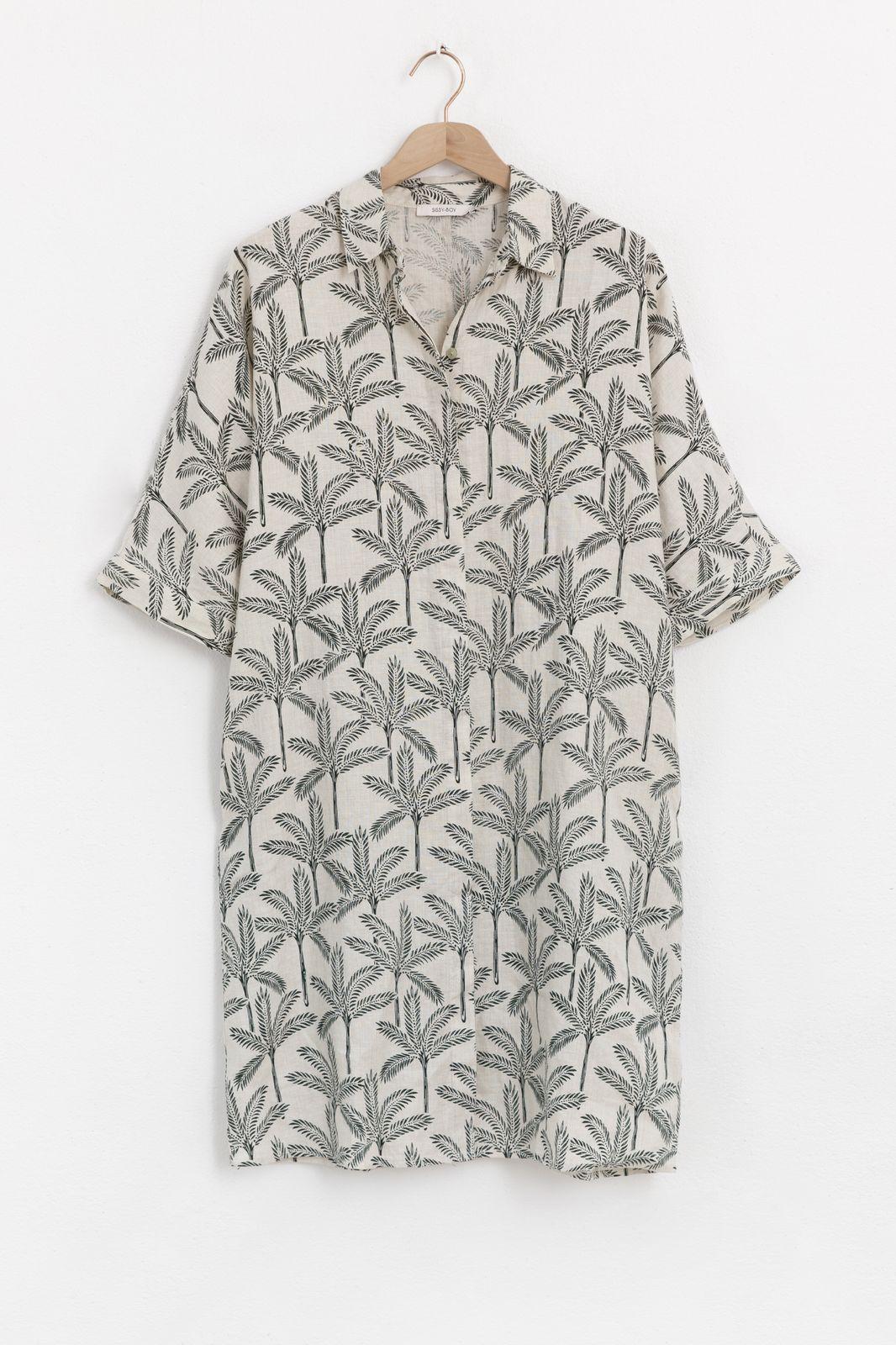 Linnen overhemd jurk met all over palmboom print