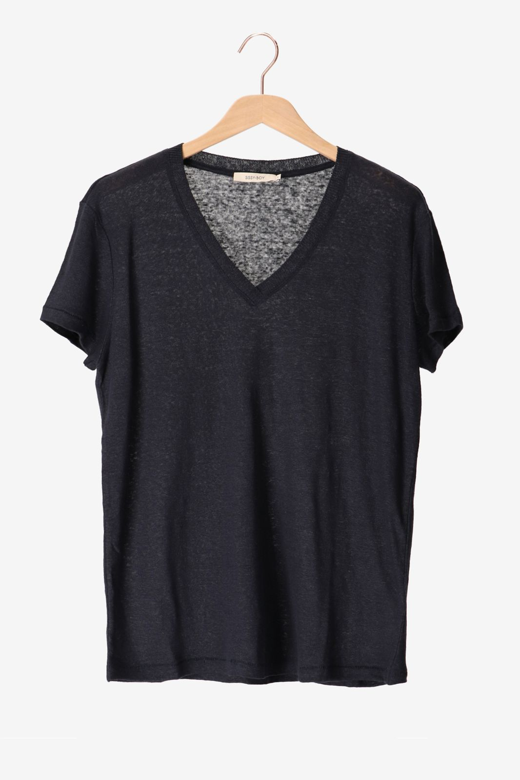 Donkerblauw linnen T-shirt