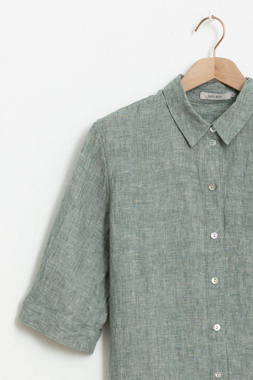 Donkergroene linnen blouse