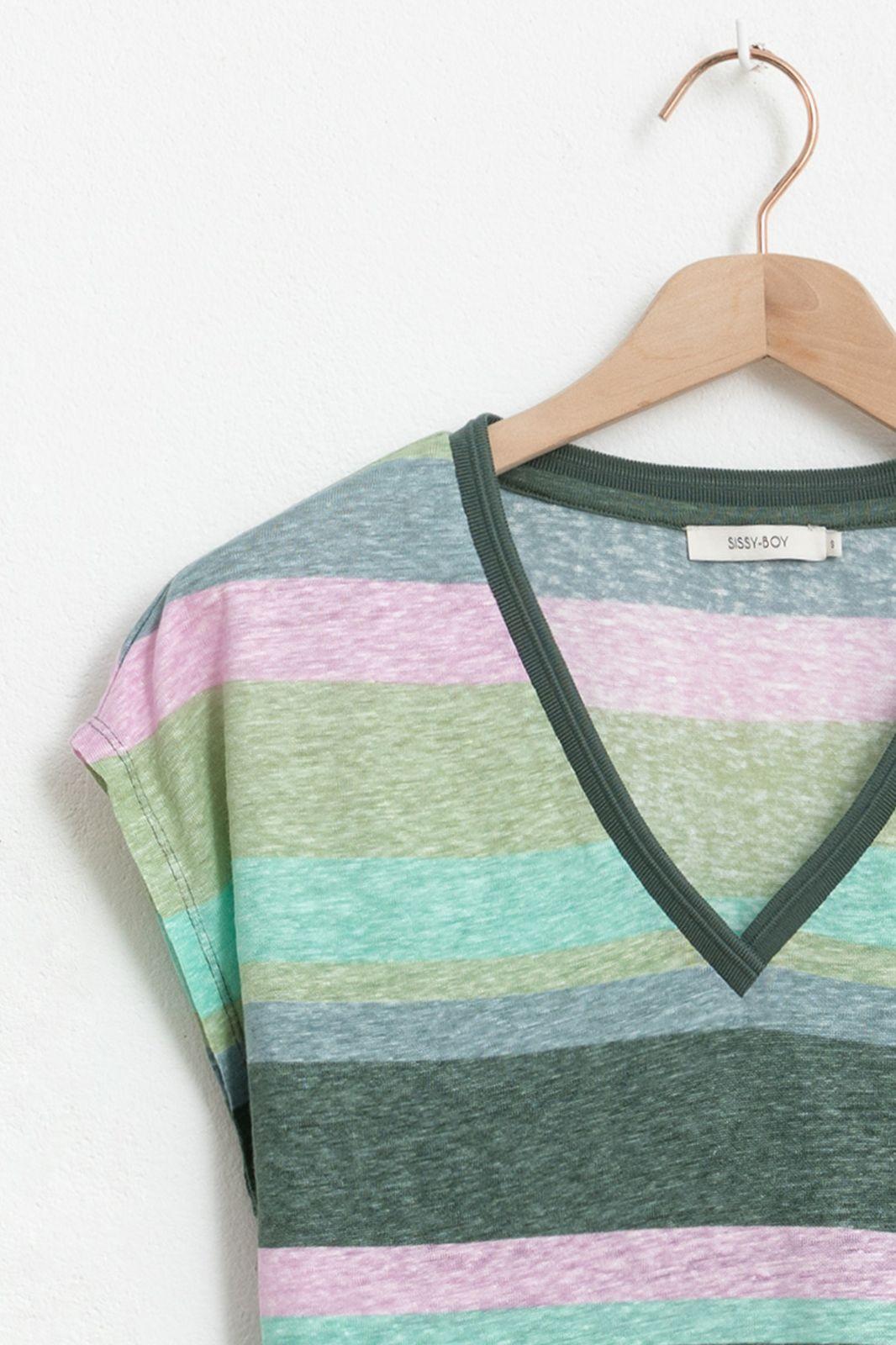 Groen gestreept T-shirt met V-hals