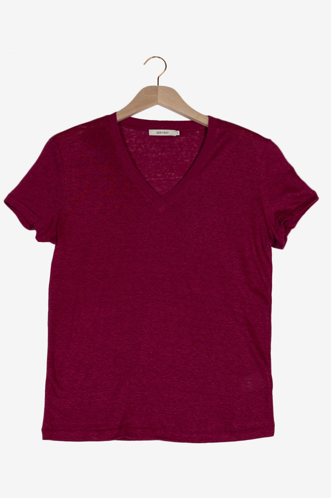 Donkerroze linnen T-shirt