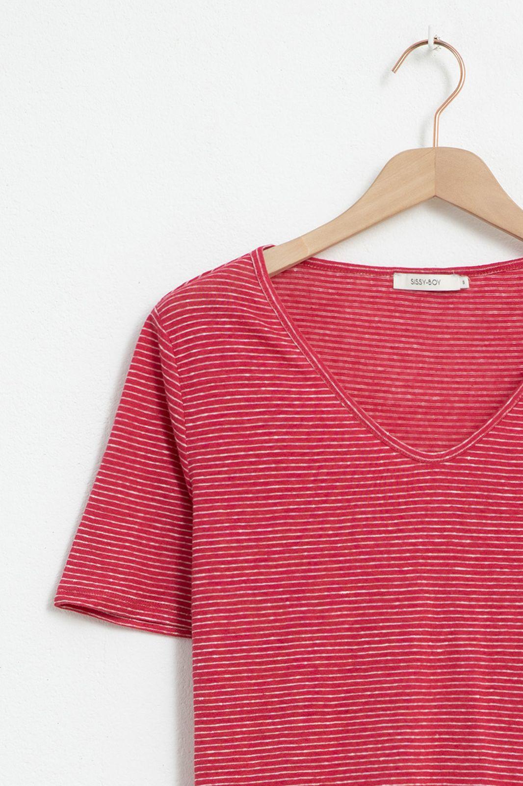 Donkerroze linnen T-shirt gestreept - Dames | Sissy-Boy