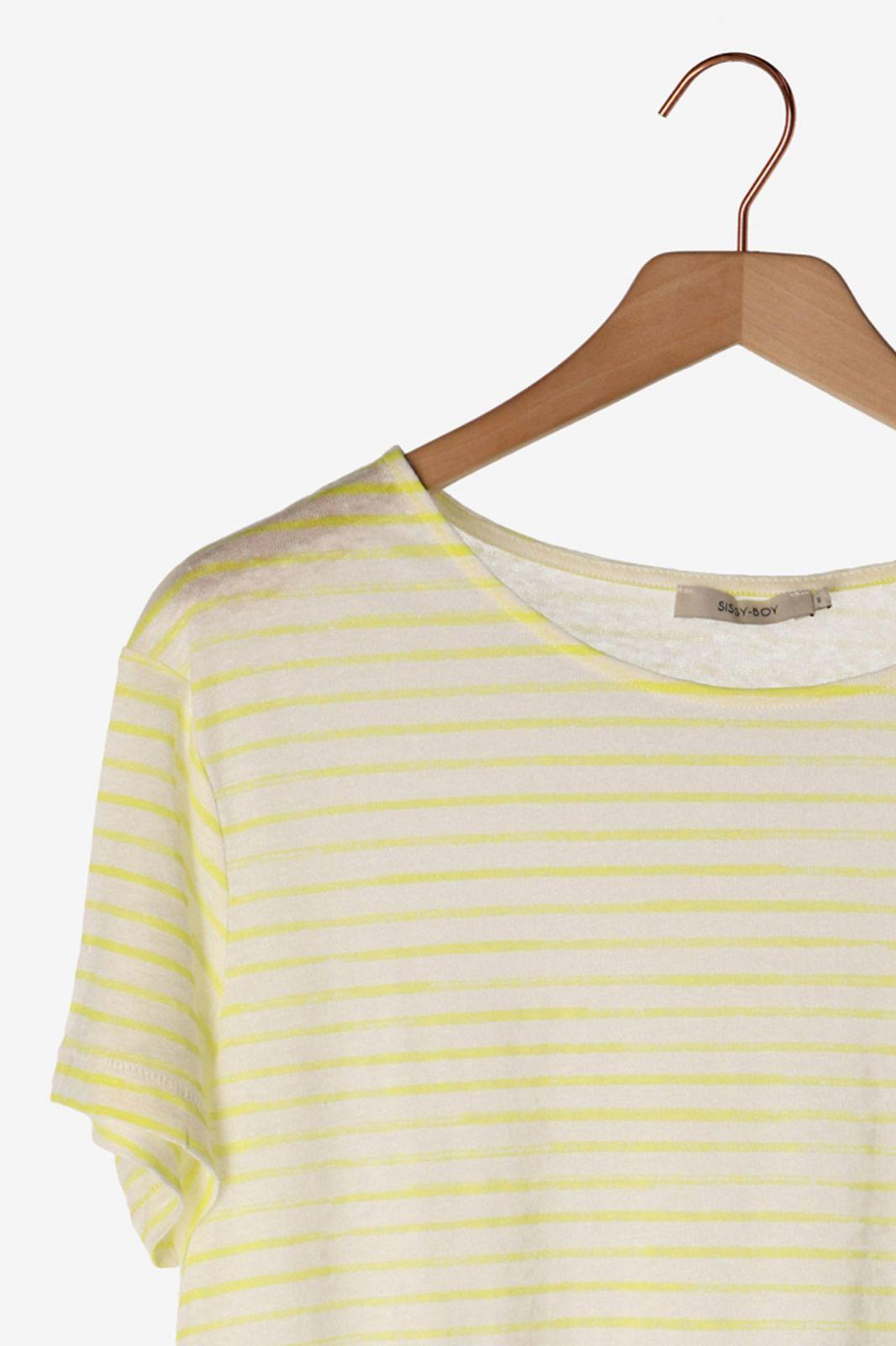 Geel met wit T-shirt gestreept
