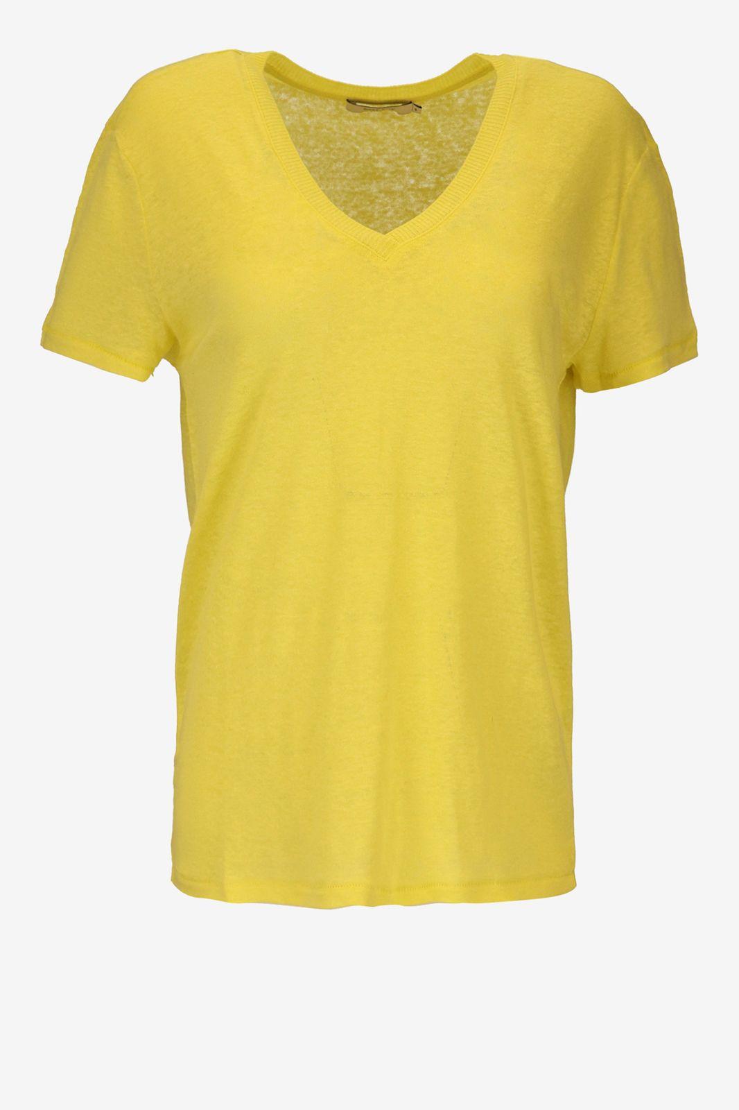 Fluor geel linnen T-shirt - Dames | Sissy-Boy