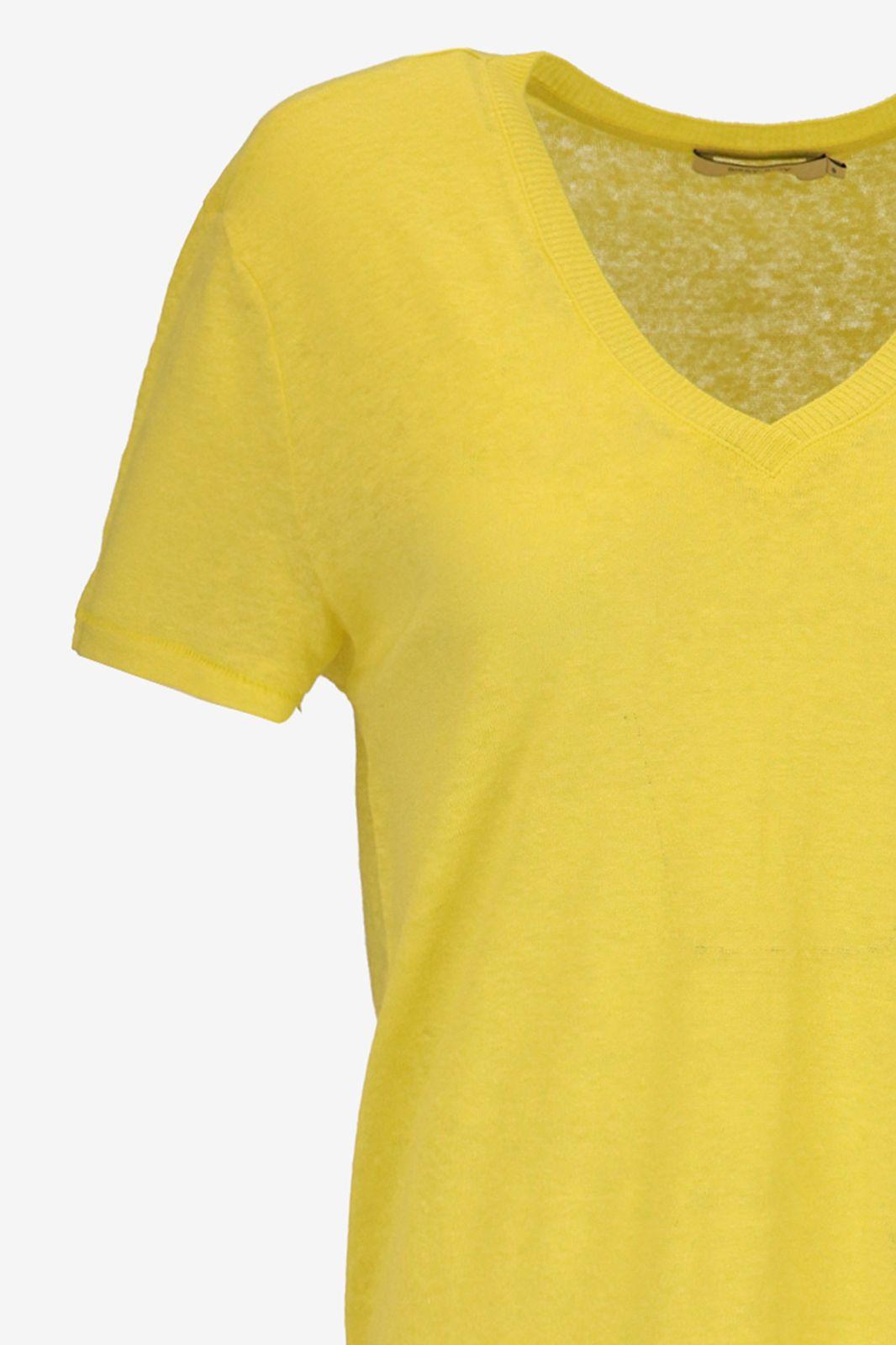 Fluor geel linnen T-shirt - Dames   Sissy-Boy