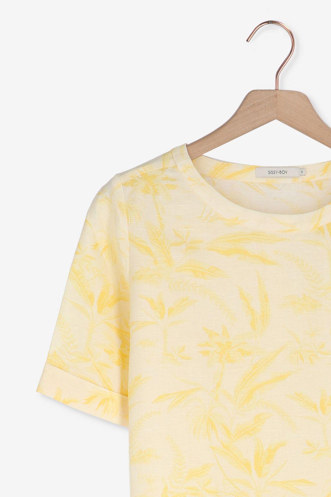 Geel t-shirt met lichte print