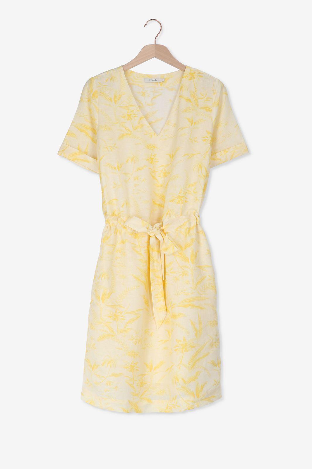 Gele jurk met V-hals - Dames | Sissy-Boy