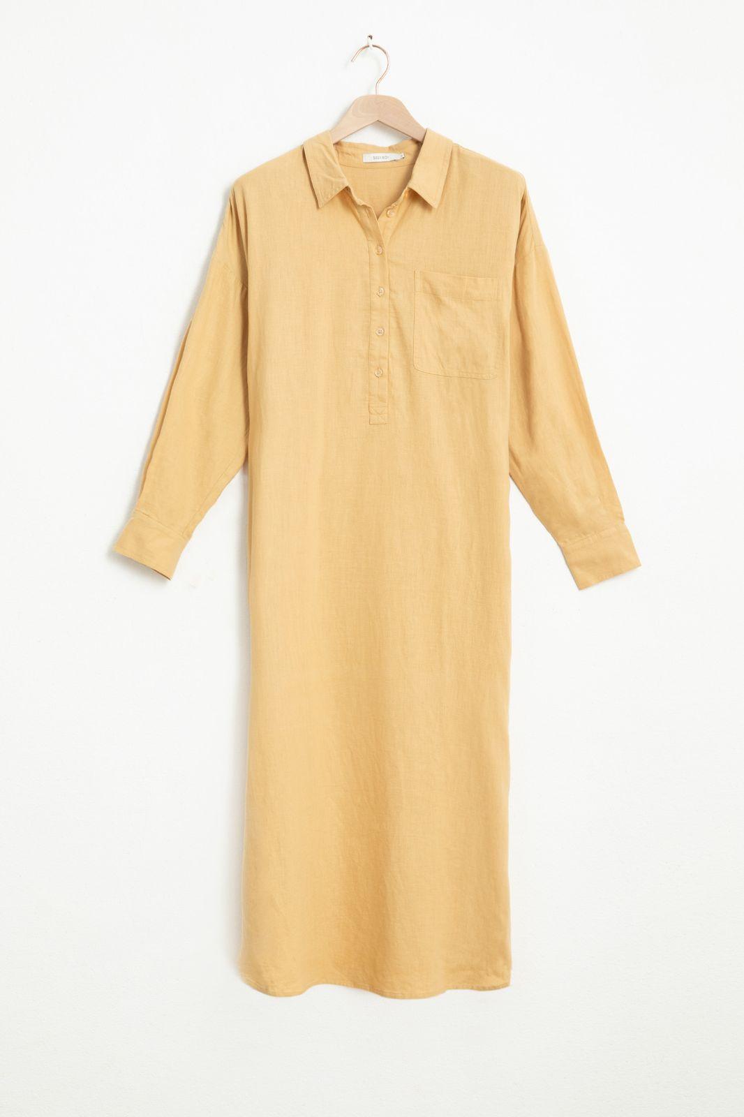 Gele linnen overhemd jurk - Dames | Sissy-Boy