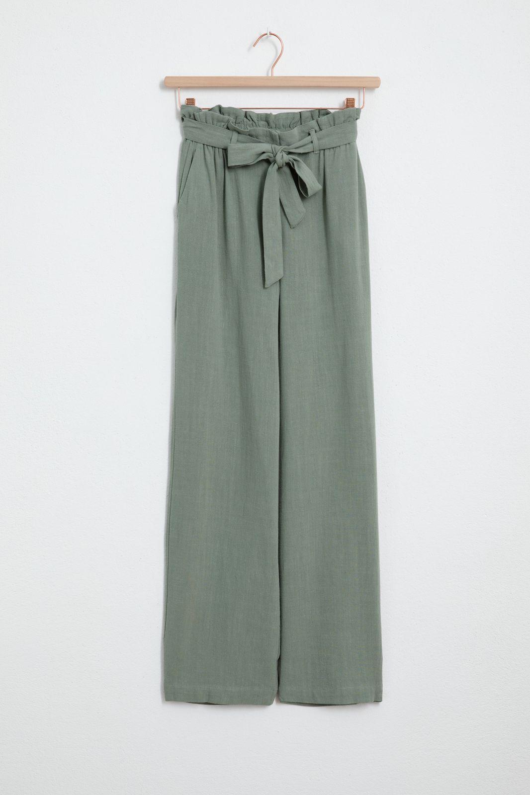Groene linnen paperbag broek - Dames   Sissy-Boy