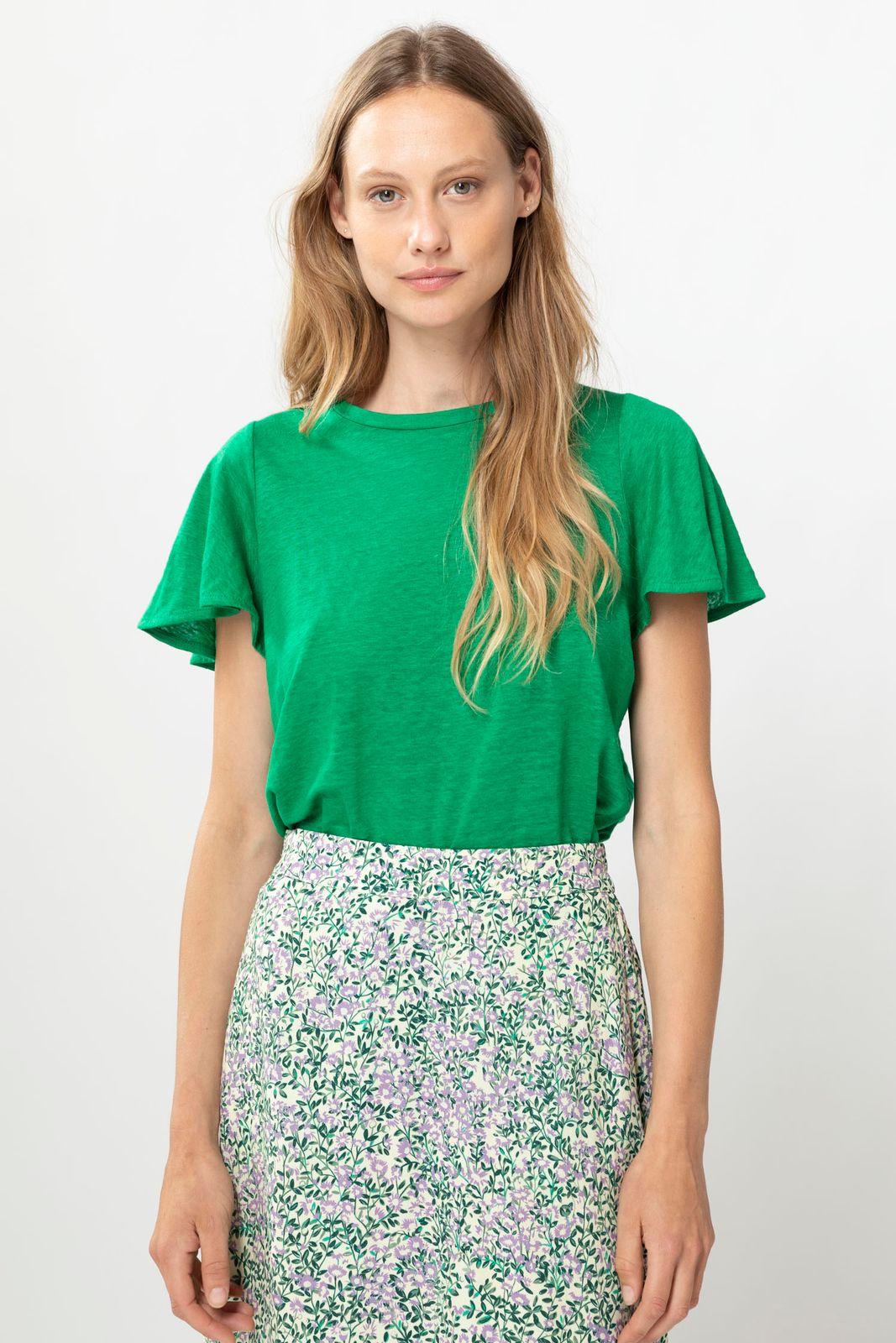 Groen T-shirt met flair mouw