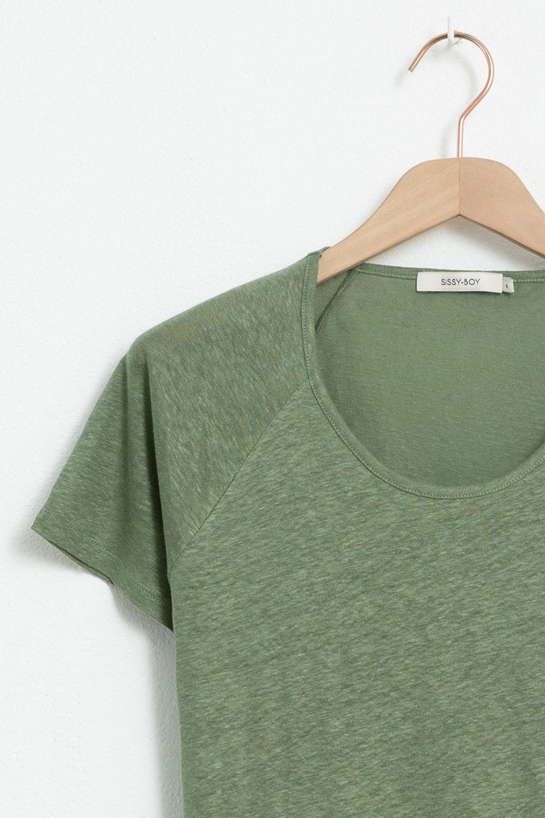 Groen linnen T-shirt met raglan mouw